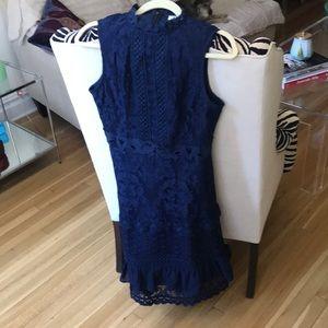 True Decadence Blue Lace Mid Lgth Dress by  Sz. 12